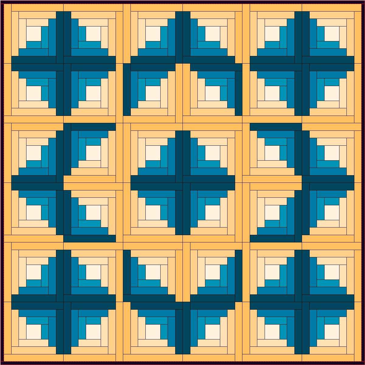 A Log Cabin Variation Pentagon Plus Quilt Design