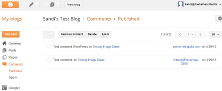Blogger Comment Dashboard