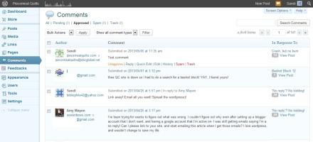 Wordpress Comment Dashboard